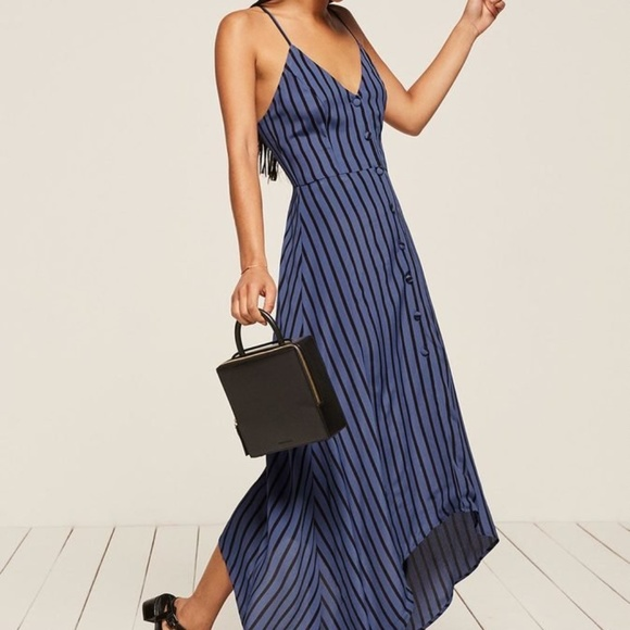 6ef52851534 Reformation Blue Stripe Savanah Maxi Dress Size 8